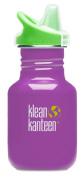 Klean Kanteen 350ml Stainless Steel Water Bottle (Kid Kanteen Sippy Cap in Bright Green) - Prevention Purple