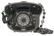 Mary Frances Call Me Phone Black & Silver Convertible Clutch Handbag