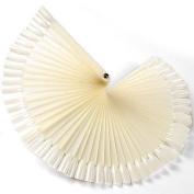 50x False Nail Art Tips Sticks polish Display Fan 4 Practise salon Natural colour