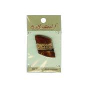 Vision Trims Handmade Bone Button-Diamond W/Gold Metal Trim 2.5cm - 1.3cm