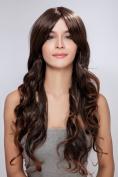 Diy Bob Style Girl's Short Brown Straight Oblique Bangs Fashion Full Hair Wig