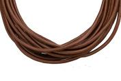 Full-grain leather cord, 2mm round dark brown 5 yard