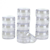 12 Storage Round Clear Container with Screw Lids For Small Items Organiser 3.8cm