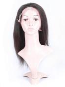 Doubleleafwig Kinky Straight Coarse Italian Yaki Short Style Brazilian Human Hair Lace Front Wigs Black