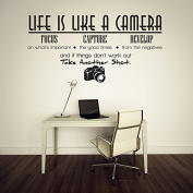 ElecMotive Life Is Like a Camera Focus Capture Develop and Take Another Shot Vinyl Wall Decals Quotes Sayings Words Art Decor Lettering Vinyl Wall Art Inspirational Uplifting
