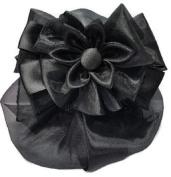 Women Black Flower Bow Hair French Clip Snood Net Bun Cover Barrette B001
