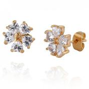 Women White Flower Crystal Rhinestone Ear Stud Love Heart Inlaid Jewellery Fashion