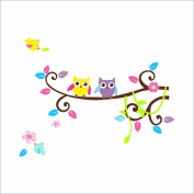 Colourful Many Expressions Owls on a Branch Wall Mural Decals Baby Boys and Girls Nursery Kids Room Stickers Home Decor-F