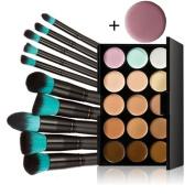 Chamberain 15 Colours Contour Face Cream Makeup Concealer Palette with 10pcs Makeup Brushes