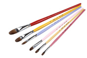 Top Quality Paint Brush Set with 6PCS,Filbert Weasel Hair Artist Brushes Set with Colourful Long Wooden Handle for Kids
