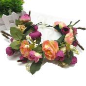 Natural Berries Reeds rose Flower Crown with Adjustable Ribbon for Wedding Festivals