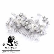 Meiysh Vintage Wedding & Brides Side Hair Comb with Silver Rhodium Flowers, Pearl & Crystal Sprays