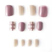 24 pcs Solid Milk Brown Grey Fake Nails Short Full Cover Round Head Nail Tips