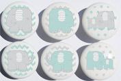 Green Elephant Drawer Pulls / Elephant Nursery Decor Ceramic Drawer Knobs, 6 Set
