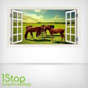 HORSE FIELD WALL STICKER FULL COLOUR - GIRLS BOYS BEDROOM WINDOW W72 Size