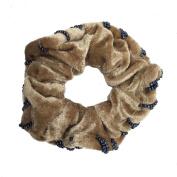 1 Pair Hair Scrunchies Velvet (Brown) Elastic Hair Bands Tie Band Ponytail Holder, Hair Scrunchy, Hair Rubber Bands