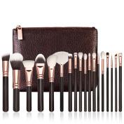 DaySeventh Fashion Popular Rose Gold Makeup Brush Complete Eye Set Tools Powder Blending Brush18 pcs with Cosmetic Bag