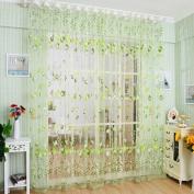 Academyus Drape Panel Room Sheer Home Door Window Decoration Tulip Flower Voile Curtain (Green 100cm x 200cm