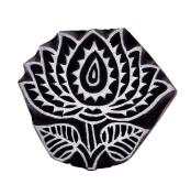 Indian Wooden Printing Lotus Scrapbook Block Art Stamp For Clay