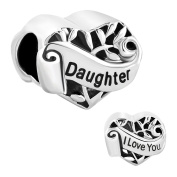 Fit Pandora Charms Silver Plated I Love You Daughter Heart Filigree Charm Bead (4.8-5mm), 0.42""