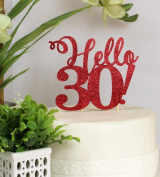 All About Details Red Hello 30! Cake Topper