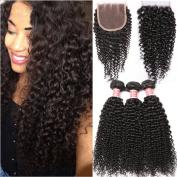 Pizazz Hair Brazilian Curly Human Hair with Closure Three Part Grade 8a Unprocessed Virgin Hair 4 Bundles