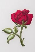 Crewel Embroidered Rose Needlework Flower Fabric Art Stump Work Craft Decor Red