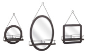 3 Piece Black Hand Finished Accent Shaving Mirror Set with Wire Shelves